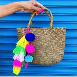 Handmade Straw Tote with Colorful Pompom & Tassels